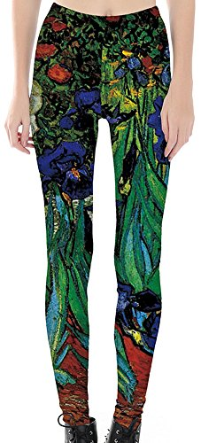Sister Amy Women's High Waist Pattern Printted Ankle Elastic Tights Legging Oil Painting US XXL