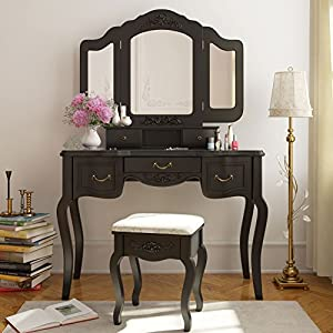 Amazon Com Tribesigns Vanity Set French Vintage Vanity Dressing Table Makeup Desk With 3 Mirror