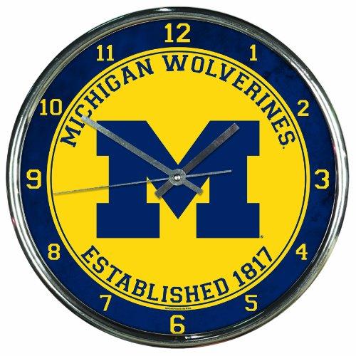 NCAA Michigan Wolverines Chrome Clock, 12