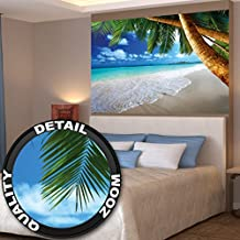 Poster Palm Beach Wall Picture Decoration Caribbean Dream Beach Bay Paradise Nature Island Palm Trees Tropics Blue Sky wall decor by GREAT ART (55 Inch x 39.4 Inch/140 cm x 100 cm)