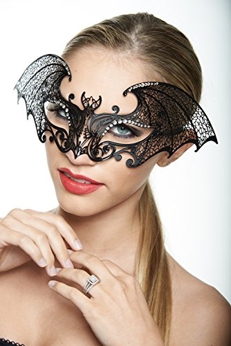 Kayso Inc Classic Black Collection Laser Cut Masquerade Masks, Bat