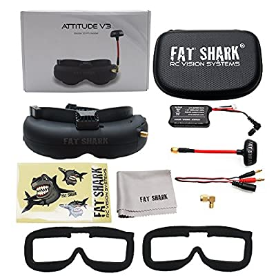 Fat Shark fatshark Attitude V3 FPV Video Goggles Headset Modular RF Goggle w/ 3D Support by Hobby-Wing