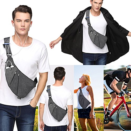 TOPNICE Sling Back Pack Shoulder Chest Crossbody Bags Lightweight Casual Outdoor Sport Travel Hiking Multipurpose Anti Theft Sling Purse Bags for Men Women in Gray
