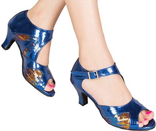 Heel Kitten shoes Peep Modern PU Blue CFP Party Tango Womens Cha Latin Salsa Fashion toe Cha Dance xWqvZPzfw