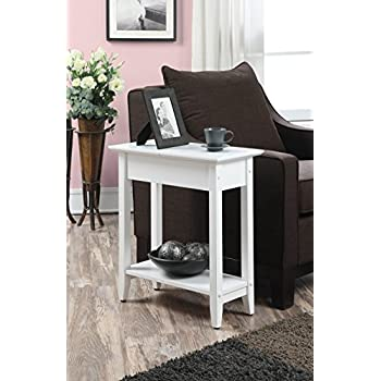 Amazon Com White Finish 2 Tier Chair Side End Table With