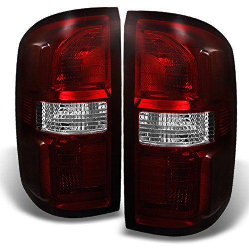 For GMC Sierra 1500 2500HD 3500 Dark Red Rear Tail Lights Driver Left + Passenger Right Replacement Pair