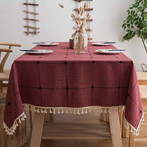 Mokani Washable Cotton Linen Solid Embroidery Checkered Design Tablecloth, Rectangle Table Cover Great for Kitchen Dinning Tabletop Buffet Decoration (55 x 86 Inch, Red) ()
