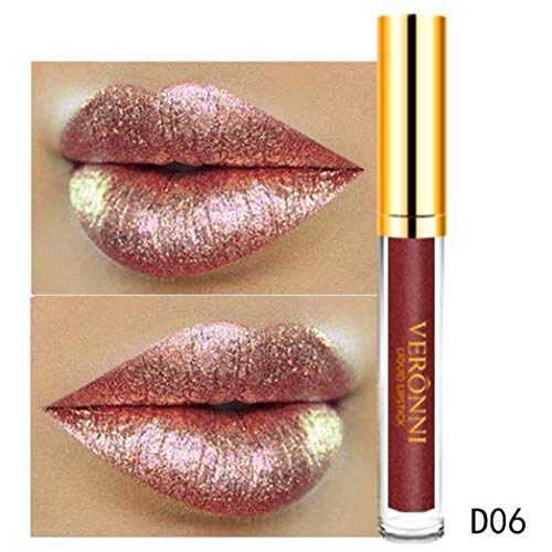10 12 color womens magic glitter flip lipstick pull matte pearl lip gloss clu new fashion waterproof long-lasting liquid cosmetic sexy kit for women velvet charmed(Multicolor-F)