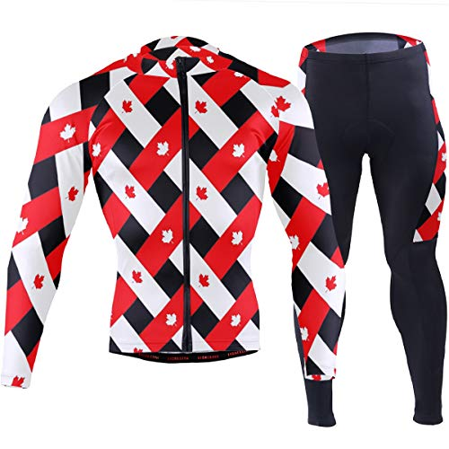 Canadian Maple Leaf Plaid Men's Cycling Jersey Set Breathable Quick-Dry MTB Road Bike Luxury -