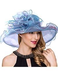 6d0c14224b35c Women Kentucky Derby Church Dress Fascinator Wide Brim Tea Party Wedding  Organza Hats S042b