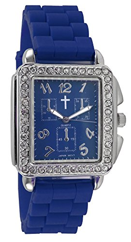 Belief Unisex | Rinestones Case Blue Face Blue Silicon Band Watch with Cross | BF9612BL