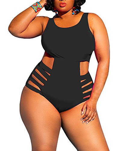 816e2b7d7e Rotita Womens One Piece High Waist Plus Size Swimsuits Sexy Tummy Control  Bandage Swimwear