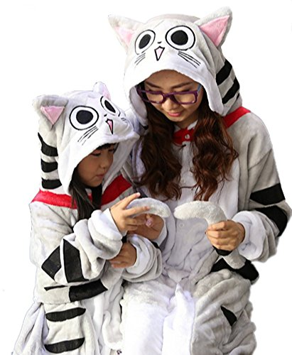 [Adults Kids Cartoon Family Cosplay Costumes Onesie Kigurumi Cheese cat] (Child Cheese Costumes)