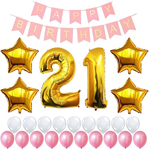 12th or 21st Birthday Decorations Party Supplies Happy Birthday Banner, Giant 32'' Number Foil Balloon, Gold 18'' Star, Latex Balloon White and Pink, Free Inflator and Glue Dots (21) (18' Balloon Time Foil)