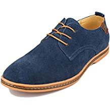 Kunsto Men's Classic Leather Oxford Flats Shoes Lace Up