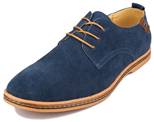 Kunsto Men's Classic Leather Oxford Flats Shoes Lace Up US Size 10 Blue