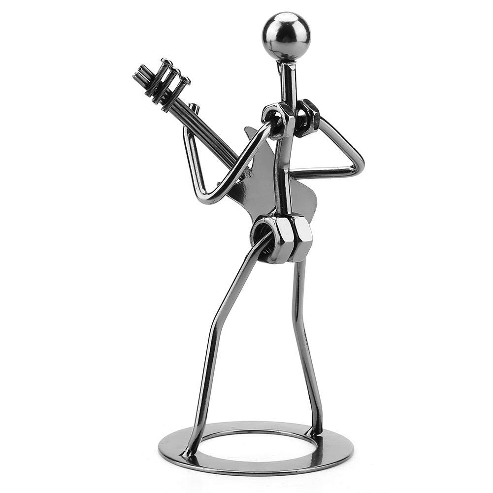 Wal front Metal Musician Guitar Player Statue Musical Instrument Guitar Collectible Figurine Home Cafe Counter Office Book Shelf Decor for Adult Children