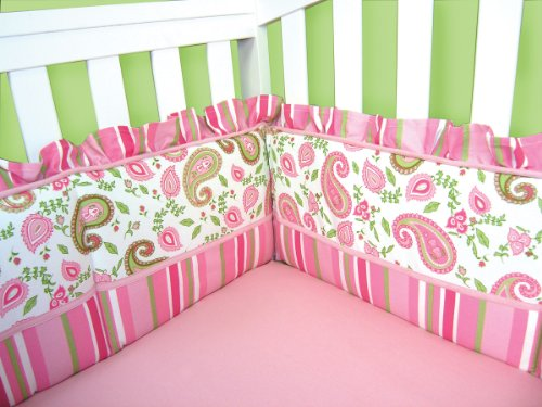 Trend Lab Crib Bumpers, Paisley Park (Crib Sage Piece 4 Pink)