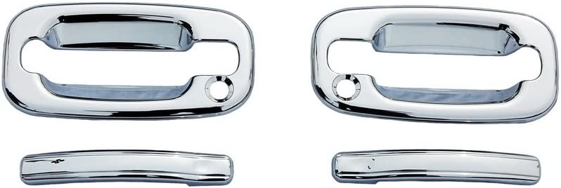 For GMC SIERRA 2007-2010 2011 2012 2013 Chrome 4 Door Handle Covers WITH Keyhole