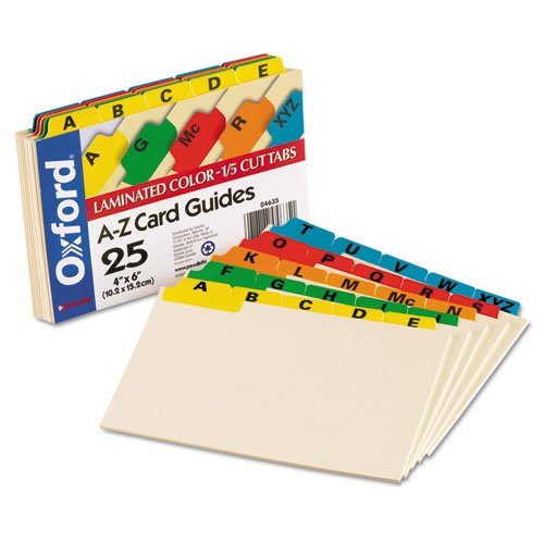 NEW - Laminated Index Card Guides, Alpha, 1/5 Tab, Manila, 4 x 6, 25/Set - 4635