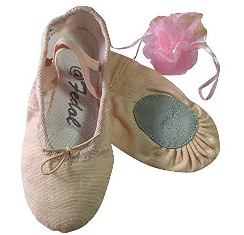 Lady's Pink Canvas split-sole Ballet Slippers --7 M