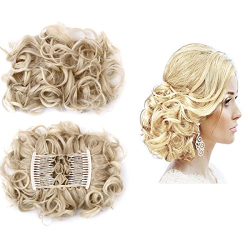 (FOCUSSEXY Short Messy Curly Hair Scrunchie Bun Piece Up Do Drawstring Ponytail Hair Extensions Easy Strech Chignon Comb Clip)
