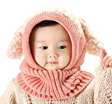 Baby Girls Boys Winter Hat Scarf Earflap Hood Scarves Skull Caps Pink One Size