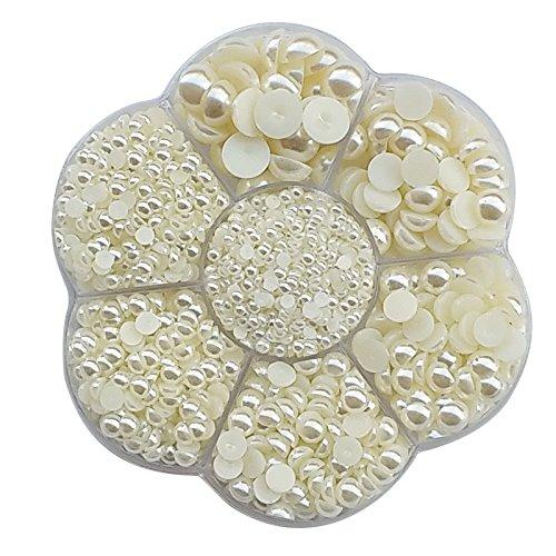 - Chenkou Craft Random 1900pcs Assorted 7 Sizes Half Flatback Pearl Bead Gem Scrapbook Craft DIY Loose Beads + Plastic Box (Beige)