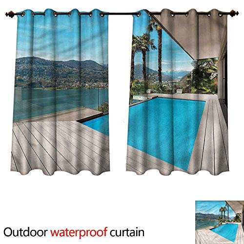 Holiday Outdoor Curtain for Patio Patio with Pool Wooden Deck W55 x L45(140cm x 115cm)