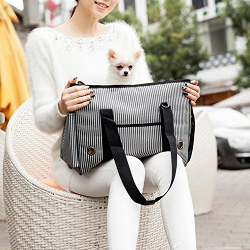 BUYITNOW Portable Strip Pet Carrier Purse Travel Soft Sided Oxford Tote Shoulder Hand Bag for Small Medium Large Dogs and Cats by BUYITNOW (Image #4)