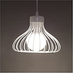Cage Pendant Light Vintage Industrial Retro White Metal Wire Cage Lamp Shade Ceiling Light Modern Hanging Lighting Fixture Guard For Loft Bar Kitchen Island Restaurants Hotels And Shops 1 Pack E27