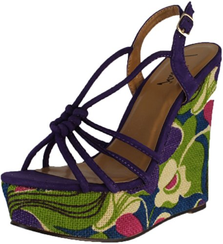 Luichiny Women's My Fair Lady Wedge Sandals,Purple IMI Suede,9