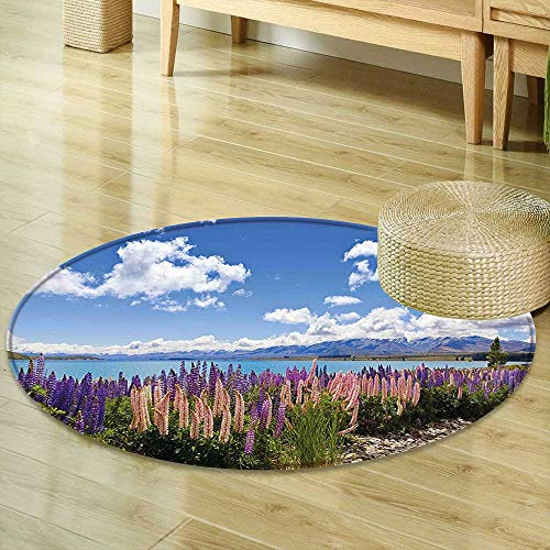 Mikihome Small Round Rug Carpet Sky Floral Decor Lupin Wildflowers on The Shore of Lake and Cloudy Sky Digital Print Sky Blue Purple Door mat Indoors Bathroom Mats Non Slip R-47