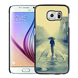 New Fashion Custom Designed Skin Case For Samsung Galaxy S6 Phone Case With Lonely Man Rainy Street Phone Case Cover