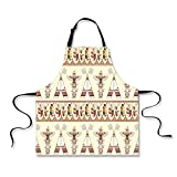 """Personality Apron,Native American,Colorful Native American Ethnic Indigenous Motifs with Feather and Totem Poles Print Decorative,Multi,Picture Printed Apron.29.5""""x26.3"""""""