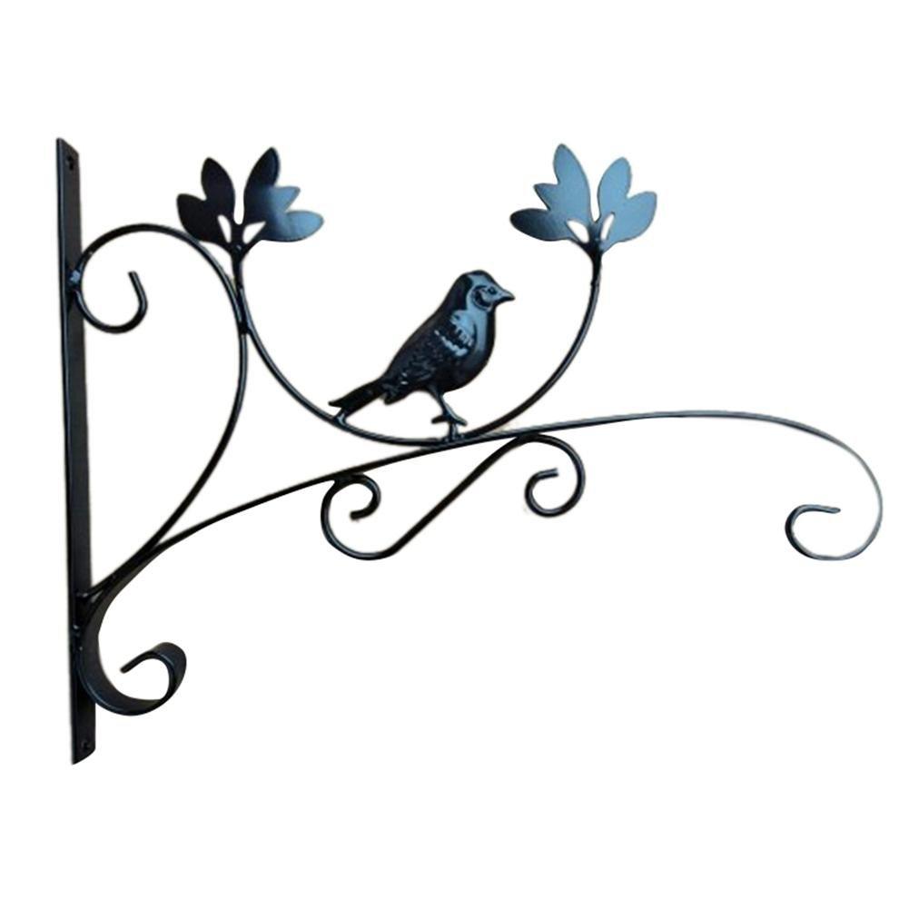 Eisen Wandhalterung Laterne Metall Ü bertopf Hä ngekorb Haken Innen Home Decor Outdoor Balkon Wand montiert Blume Rack Garten-Deko, schwarz iBaste_S