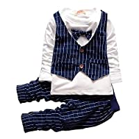 Baby Boy Girl Unisex Waistcoat Tshirt Pant Set Birthday Party Wear Clothes Long Sleeves Shirt
