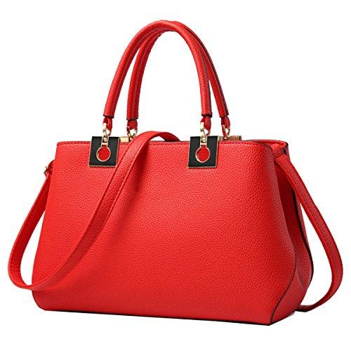 Bolsos Yy.f Señoras De La Manera Bolso De Hombro Color Sólido De Alta Capacidad Multicolor Red