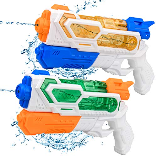 Balnore Water Gun for Kids, 2 Packs Water Soaker Blaster, Squirt Gun, up to 25 Feet Range for Boys Girls Adult Summer Swimming Pool Party Outdoor Beach Water Fighting