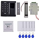 Fenteer Door Access Control System with Fingerprint Access Controller 5 Keyfob Magnetic Lock