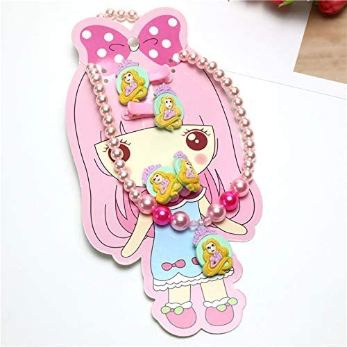 Girl Princess Necklace+Hair Band+Clips Pretend Play Costume Snow White Disney