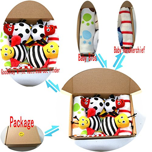 GoodOkay 4-Piece Baby Infant Soft Toy [Bee and Ladybug] Animal Wrist Rattle and Foot Finder Developmental Soft Toy Set with baby Cotton - Usps Tracking Ship And Click