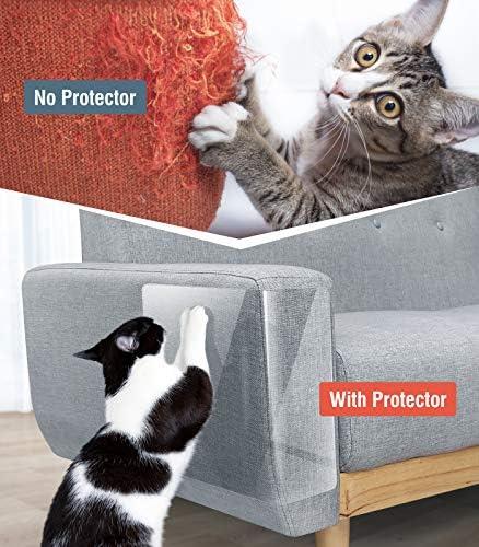 Lewondr Lot de 10 Protecteurs de Meubles Tapis Griffoir pour Chats, Protection Canapé Fauteuil Meuble Anti-Griffes Autocollant avec Broches Épingles 4X(M) 18x9+6X(L) 18x12, Transparent