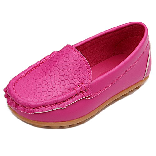 LONSOEN Toddler/Little Kid Boys Girls Soft Synthetic Leather Loafer Slip-On Boat-Dress Shoes/Sneakers,Hot Pink,SHF103 CN27