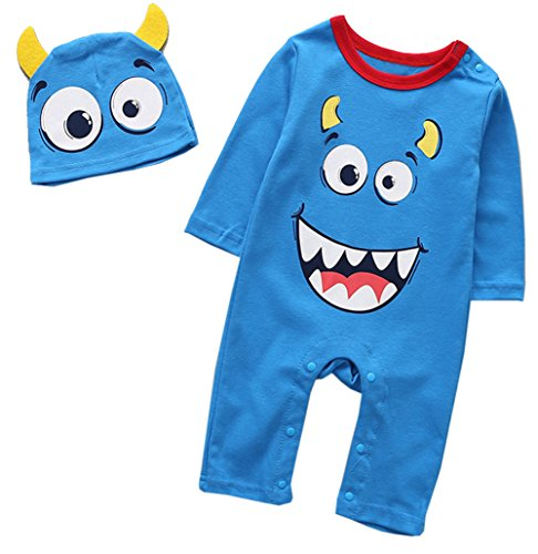 stylesilove Little Monster Baby Boy Cotton Long Sleeve Halloween Costume Romper and Hat 2 pcs Outfit Set (90/12-18 Months, Blue) ()