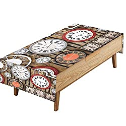 PINAFORE Printed Fabric Tablecloth Antique Clock Old time Passing picnics.Gathering W60 x L102 INCH