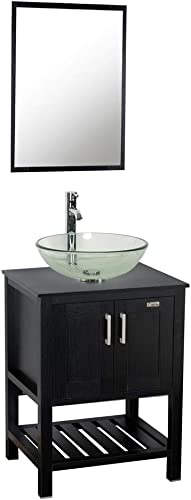 24″ Bathroom Vanity and Sink Combo Stand Cabinet,MDF Board Cabinet,Tempered Glass Vessel Sink,Round Clear Sink Bowl,1.5 GPM Water Save Chrome Faucet,Solid Brass Pop Up Drain