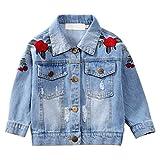 Kids Girls Loose Fit Denim Jacket Flower Embroidery Vintage Light Wash Ripped JeanTops Blue 4-5 Years