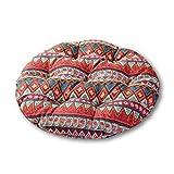 YOTHG Anti-wear Seat Cushion Floor Mat Japanese Tatami Floor Pillow Set Ideal Tatami Office Bay Window Car (Red Ethnic Style)