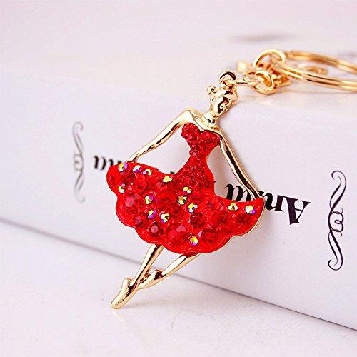 Jzcky Shzrp Ballet Girl Crystal Rhinestone Keychain Key Chain Sparkling Key Ring Charm Purse Pendant Handbag Bag Decoration Holiday Gift(Red) ()